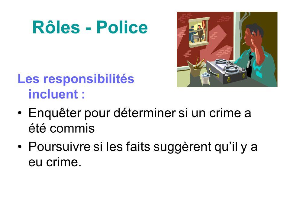 Rôles - Police Les responsibilités incluent : Enquêter pour déterminer si un crime a été commis Poursuivre si les faits suggèrent quil y a eu crime.