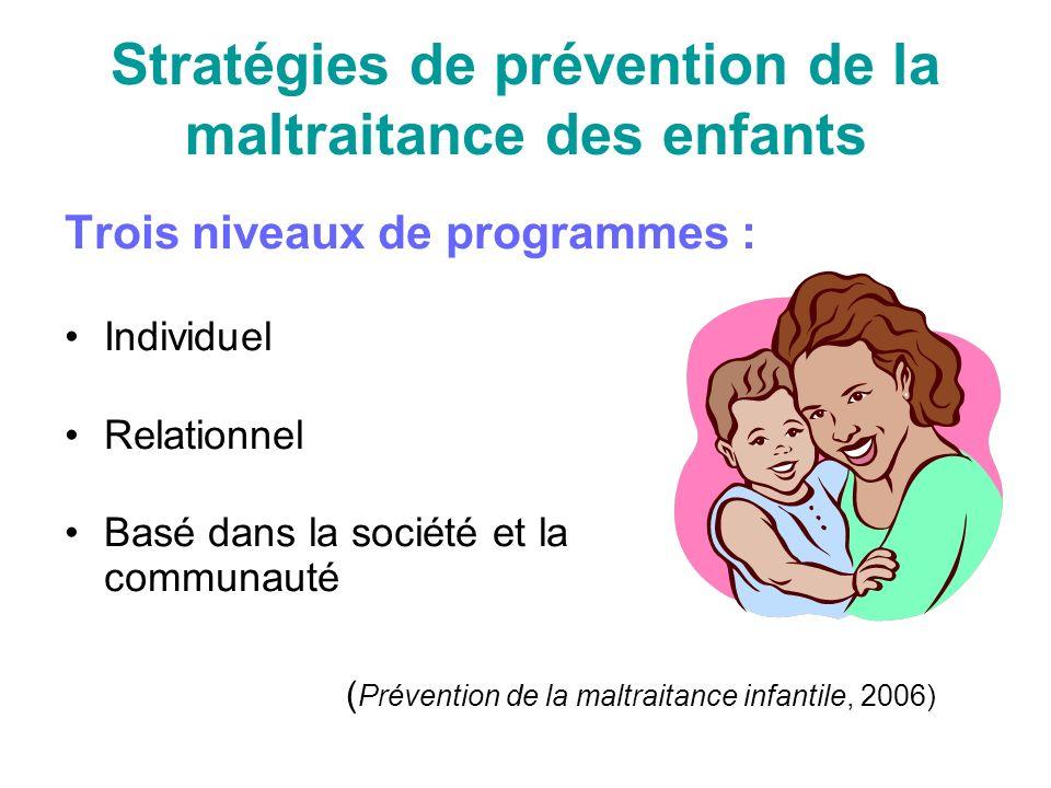 Stratégies de prévention de la maltraitance des enfants Trois niveaux de programmes : Individuel Relationnel Basé dans la société et la communauté ( Prévention de la maltraitance infantile, 2006)