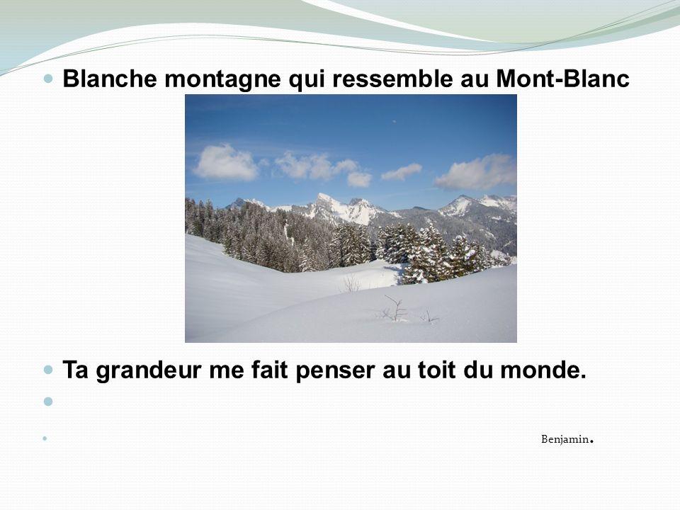 Blanche montagne qui ressemble au Mont-Blanc Ta grandeur me fait penser au toit du monde. Benjamin.