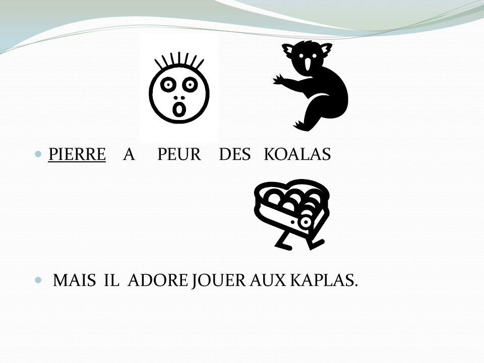 PIERRE A PEUR DES KOALAS MAIS IL ADORE JOUER AUX KAPLAS.