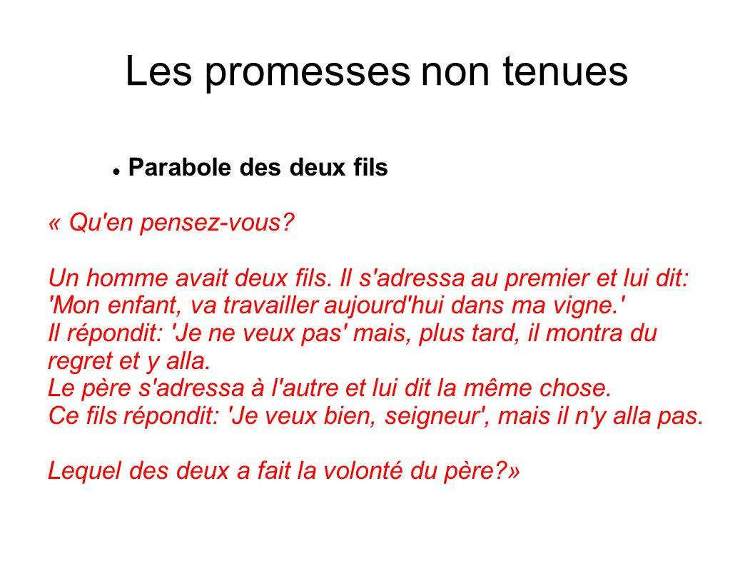 Les promesses non tenues Parabole des deux fils « Qu'en pensez-vous? Un homme avait deux fils. Il s'adressa au premier et lui dit: 'Mon enfant, va tra