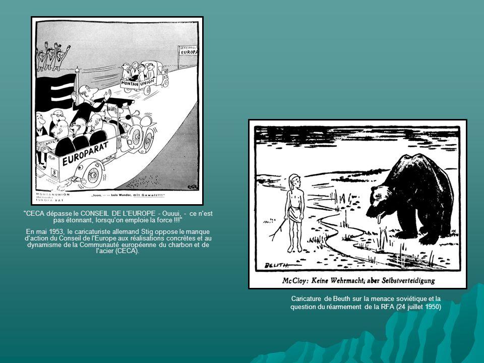Caricature de Beuth sur la menace soviétique et la question du réarmement de la RFA (24 juillet 1950) CECA dépasse le CONSEIL DE L EUROPE - Ouuui, - ce n est pas étonnant, lorsqu on emploie la force !!! En mai 1953, le caricaturiste allemand Stig oppose le manque d action du Conseil de l Europe aux réalisations concrètes et au dynamisme de la Communauté européenne du charbon et de l acier (CECA).