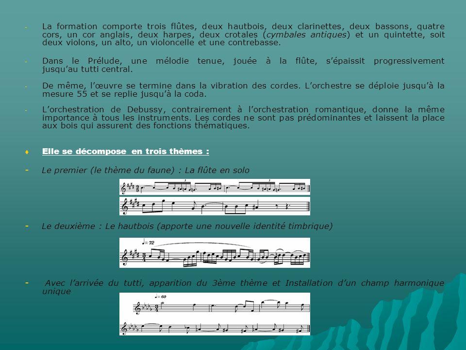 - - La formation comporte trois flûtes, deux hautbois, deux clarinettes, deux bassons, quatre cors, un cor anglais, deux harpes, deux crotales (cymbales antiques) et un quintette, soit deux violons, un alto, un violoncelle et une contrebasse.