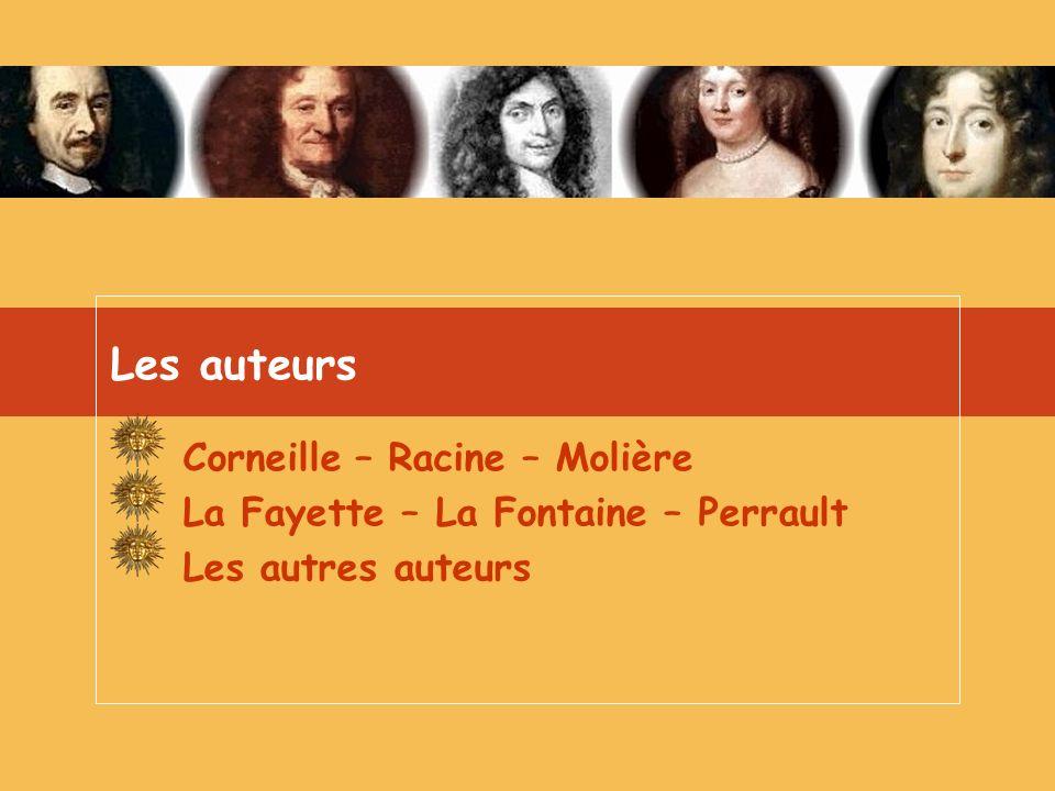Les auteurs Corneille – Racine – Molière La Fayette – La Fontaine – Perrault Les autres auteurs