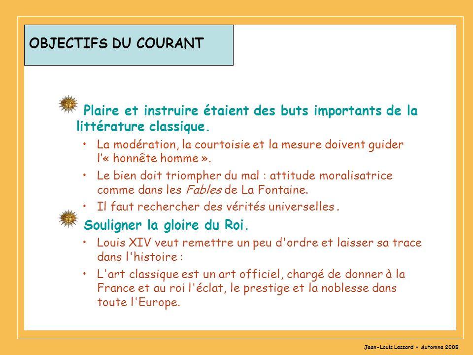 Jean-Louis Lessard – Automne 2005 OBJECTIFS DU COURANT Plaire et instruire étaient des buts importants de la littérature classique. La modération, la