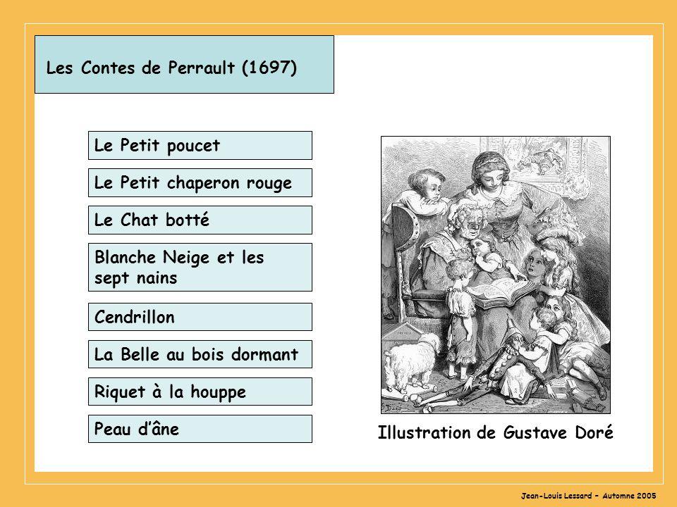 Jean-Louis Lessard – Automne 2005 Les Contes de Perrault (1697) Le Petit poucet Le Petit chaperon rouge Le Chat botté Blanche Neige et les sept nains