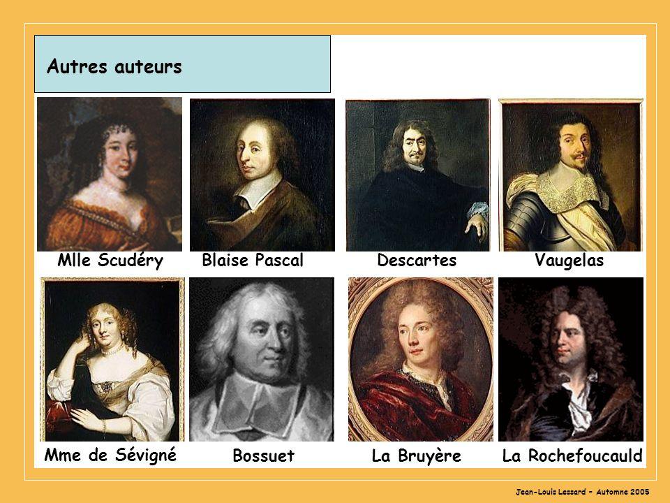 Jean-Louis Lessard – Automne 2005 Autres auteurs Mlle Scudéry Blaise Pascal Descartes Vaugelas BossuetLa RochefoucauldLa Bruyère Mme de Sévigné
