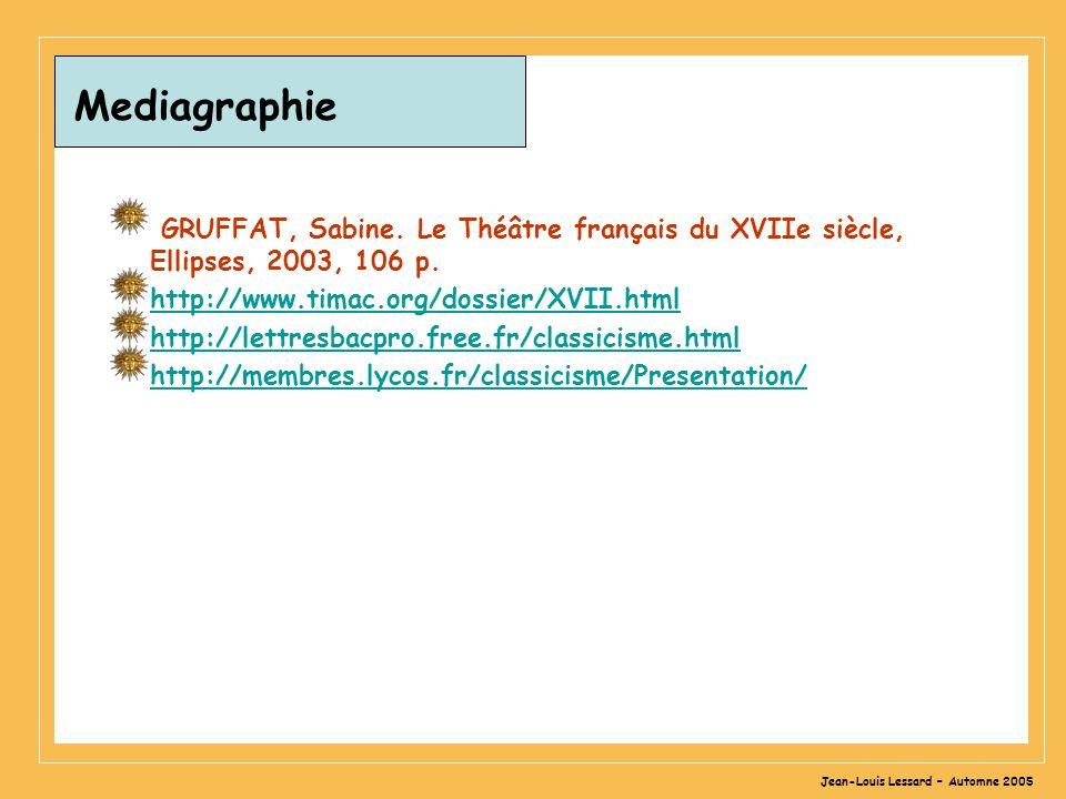 Jean-Louis Lessard – Automne 2005 Mediagraphie GRUFFAT, Sabine.