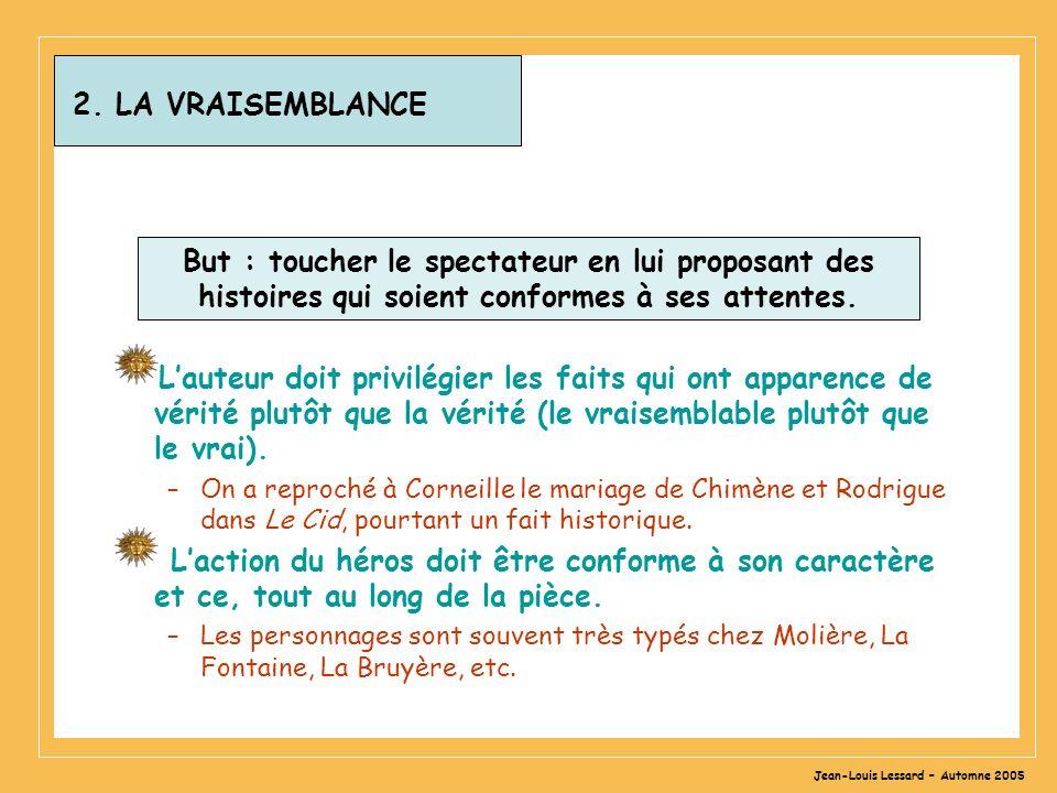Jean-Louis Lessard – Automne 2005 2. LA VRAISEMBLANCE But : toucher le spectateur en lui proposant des histoires qui soient conformes à ses attentes.