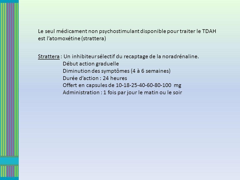 Le seul médicament non psychostimulant disponible pour traiter le TDAH est latomoxétine (strattera) Strattera : Un inhibiteur sélectif du recaptage de la noradrénaline.