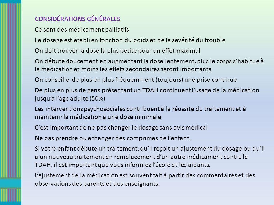 CONSIDÉRATIONS GÉNÉRALES Ce sont des médicament palliatifs Le dosage est établi en fonction du poids et de la sévérité du trouble On doit trouver la d