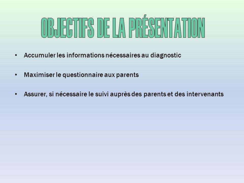 Accumuler les informations nécessaires au diagnostic Maximiser le questionnaire aux parents Assurer, si nécessaire le suivi auprès des parents et des