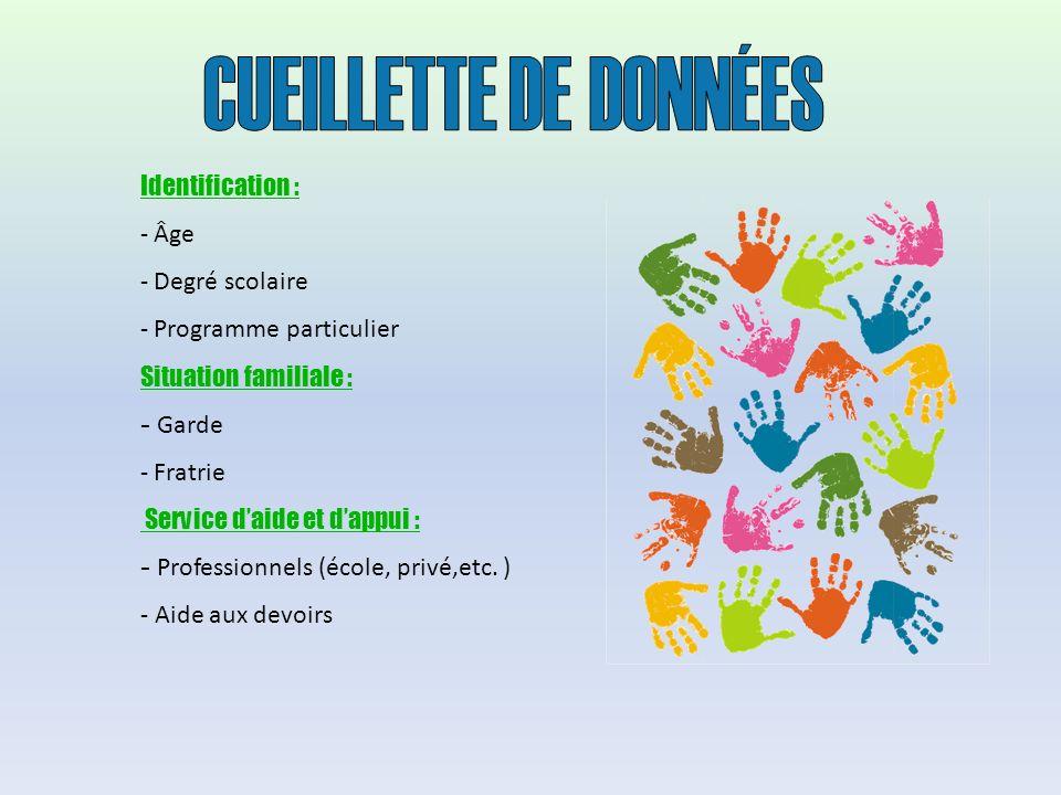 Identification : - Âge - Degré scolaire - Programme particulier Situation familiale : - Garde - Fratrie Service daide et dappui : - Professionnels (école, privé,etc.