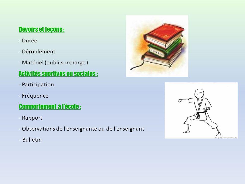Devoirs et leçons : - Durée - Déroulement - Matériel (oubli,surcharge ) Activités sportives ou sociales : - Participation - Fréquence Comportement à lécole : - Rapport - Observations de lenseignante ou de lenseignant - Bulletin