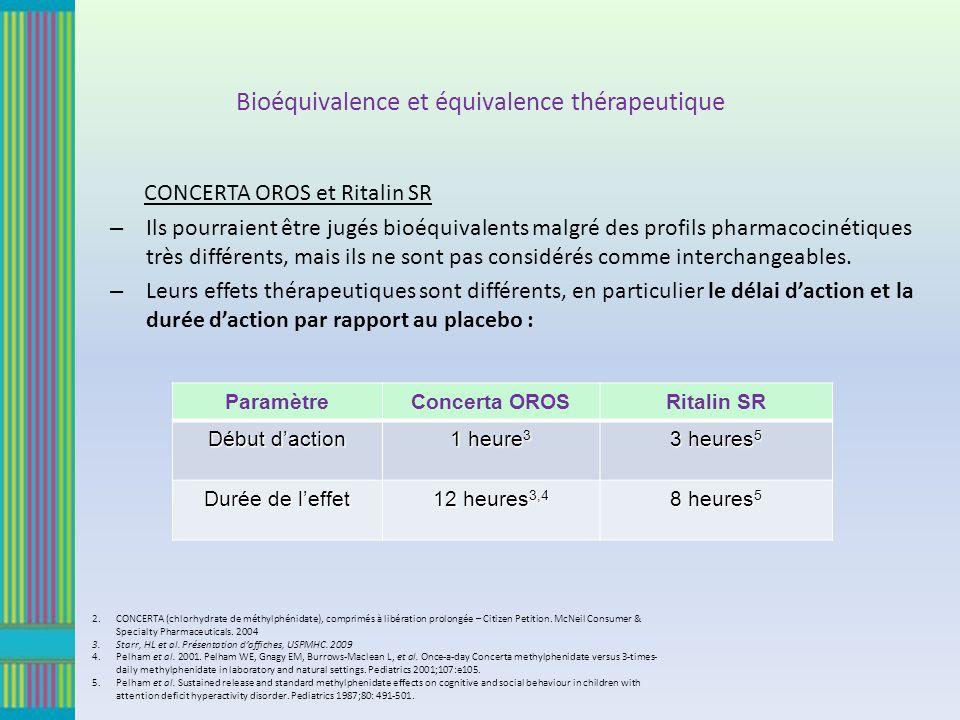 Bioéquivalence et équivalence thérapeutique CONCERTA OROS et Ritalin SR – Ils pourraient être jugés bioéquivalents malgré des profils pharmacocinétiques très différents, mais ils ne sont pas considérés comme interchangeables.