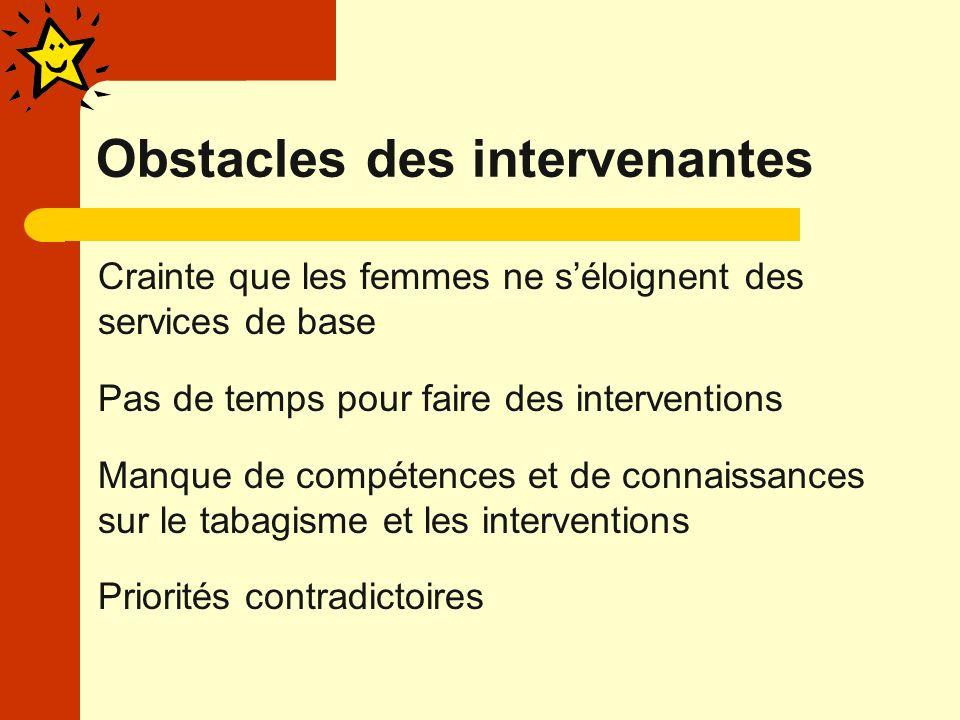 Obstacles des intervenantes Crainte que les femmes ne séloignent des services de base Pas de temps pour faire des interventions Manque de compétences et de connaissances sur le tabagisme et les interventions Priorités contradictoires