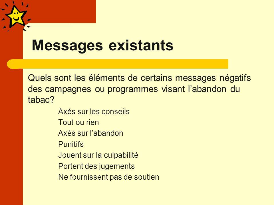 Messages existants Quels sont les éléments de certains messages négatifs des campagnes ou programmes visant labandon du tabac.