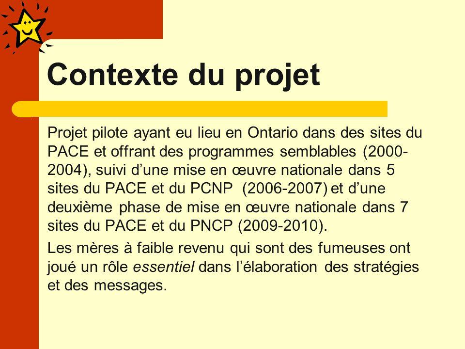 Contexte du projet Projet pilote ayant eu lieu en Ontario dans des sites du PACE et offrant des programmes semblables (2000- 2004), suivi dune mise en œuvre nationale dans 5 sites du PACE et du PCNP (2006-2007) et dune deuxième phase de mise en œuvre nationale dans 7 sites du PACE et du PNCP (2009-2010).