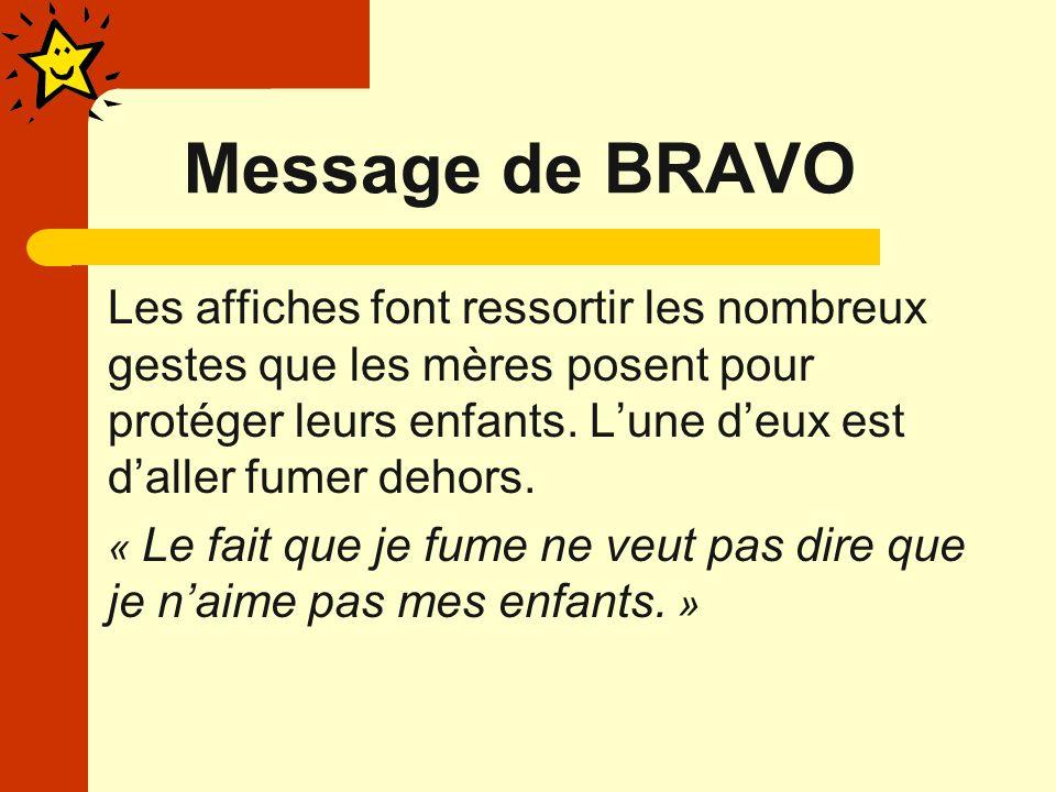 Message de BRAVO Les affiches font ressortir les nombreux gestes que les mères posent pour protéger leurs enfants.