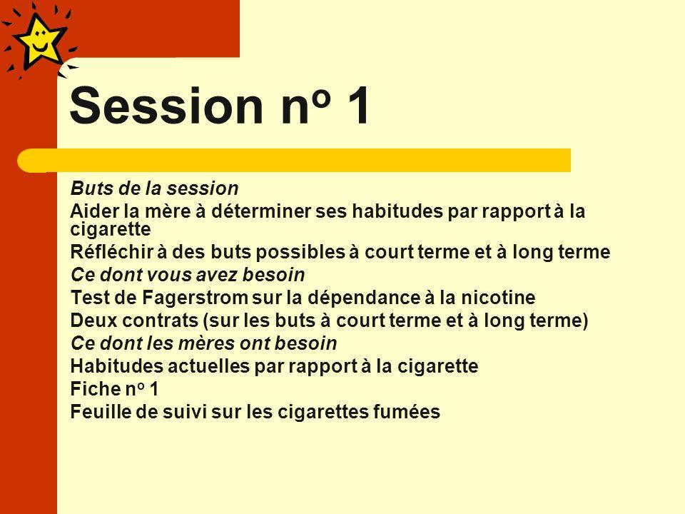 Session n o 1 Buts de la session Aider la mère à déterminer ses habitudes par rapport à la cigarette Réfléchir à des buts possibles à court terme et à long terme Ce dont vous avez besoin Test de Fagerstrom sur la dépendance à la nicotine Deux contrats (sur les buts à court terme et à long terme) Ce dont les mères ont besoin Habitudes actuelles par rapport à la cigarette Fiche n o 1 Feuille de suivi sur les cigarettes fumées