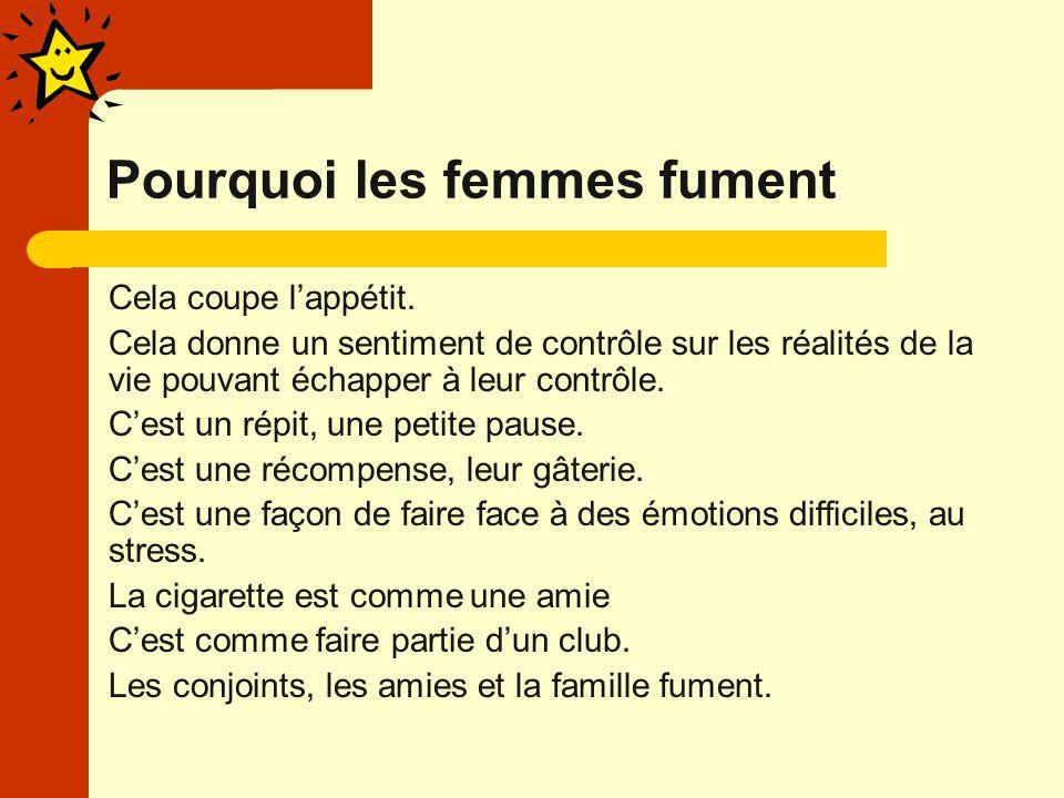 Pourquoi les femmes fument Cela coupe lappétit.