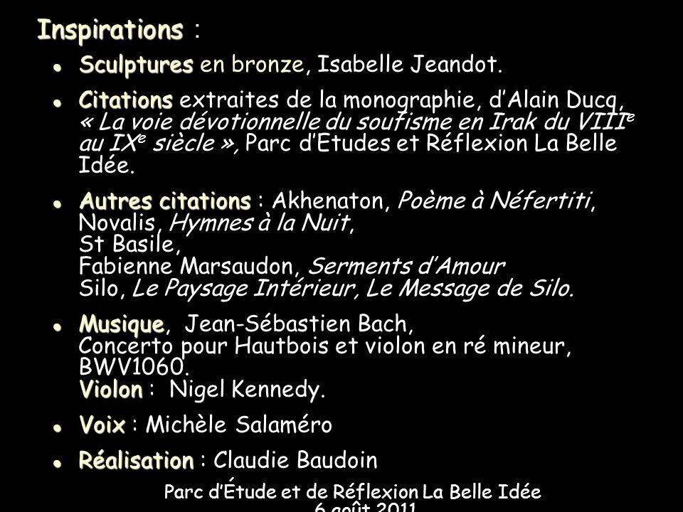 Sculptures Sculptures en bronze, Isabelle Jeandot. Citations Citations extraites de la monographie, dAlain Ducq, « La voie dévotionnelle du soufisme e