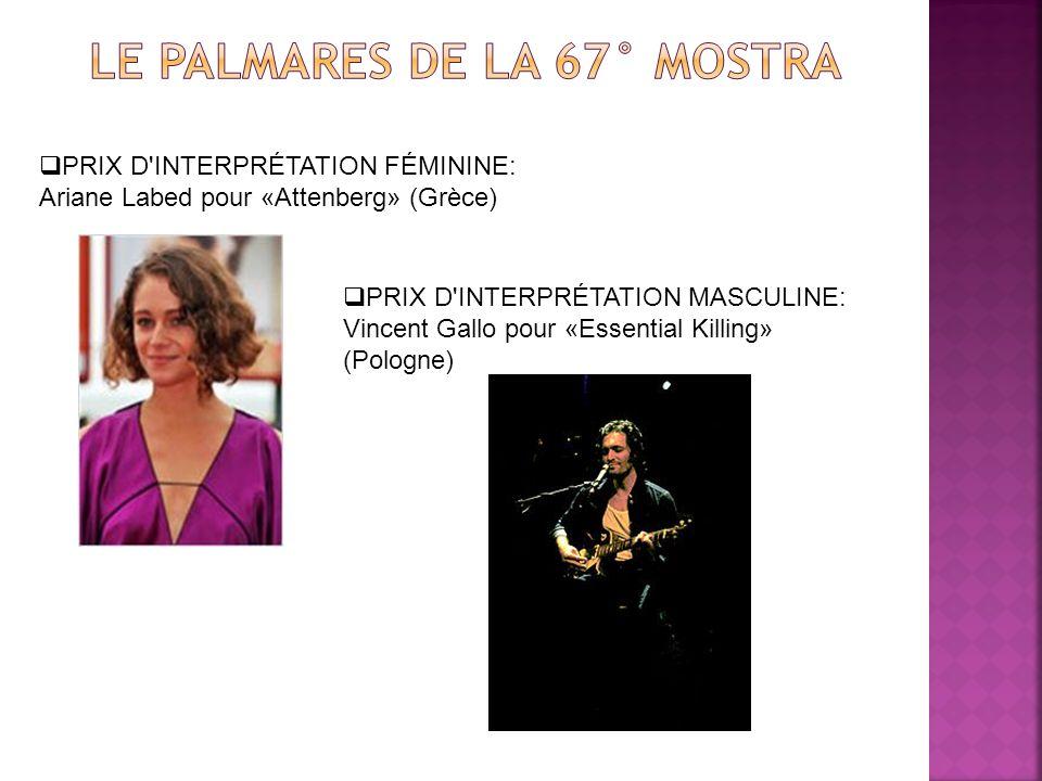 PRIX D INTERPRÉTATION FÉMININE: Ariane Labed pour «Attenberg» (Grèce) PRIX D INTERPRÉTATION MASCULINE: Vincent Gallo pour «Essential Killing» (Pologne)