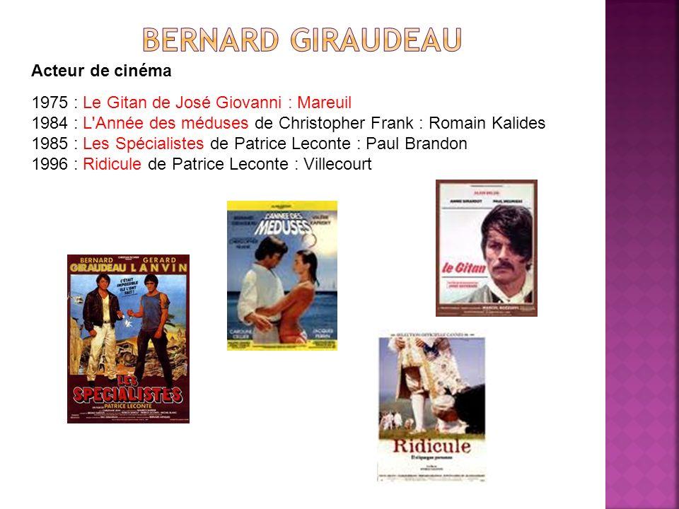 Acteur de cinéma 1975 : Le Gitan de José Giovanni : Mareuil 1984 : L'Année des méduses de Christopher Frank : Romain Kalides 1985 : Les Spécialistes d