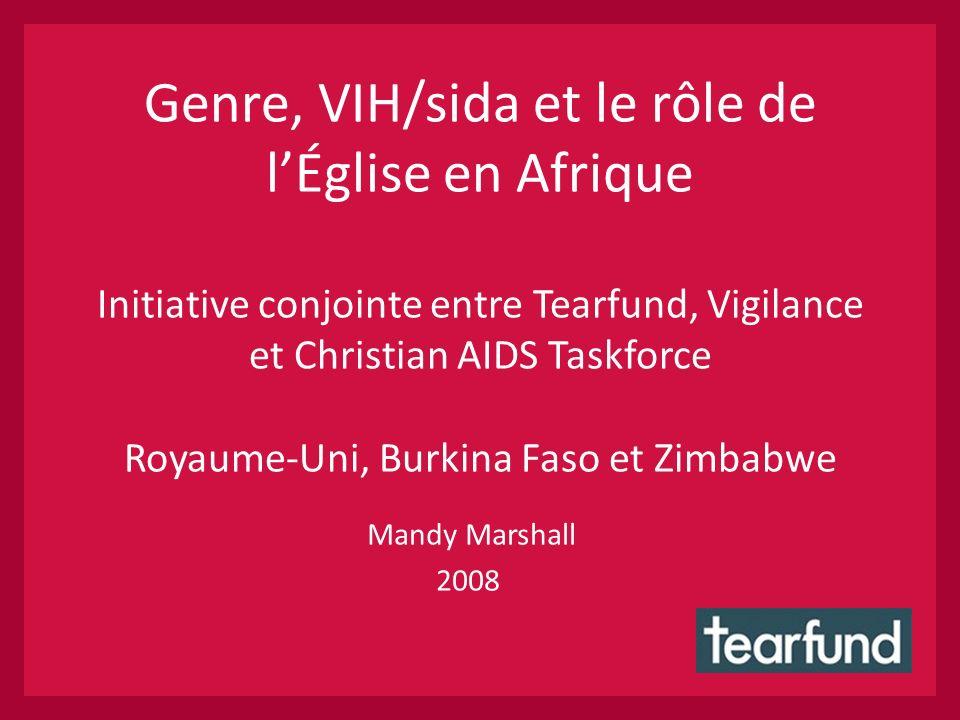 Genre, VIH/sida et le rôle de lÉglise en Afrique Initiative conjointe entre Tearfund, Vigilance et Christian AIDS Taskforce Royaume-Uni, Burkina Faso et Zimbabwe Mandy Marshall 2008