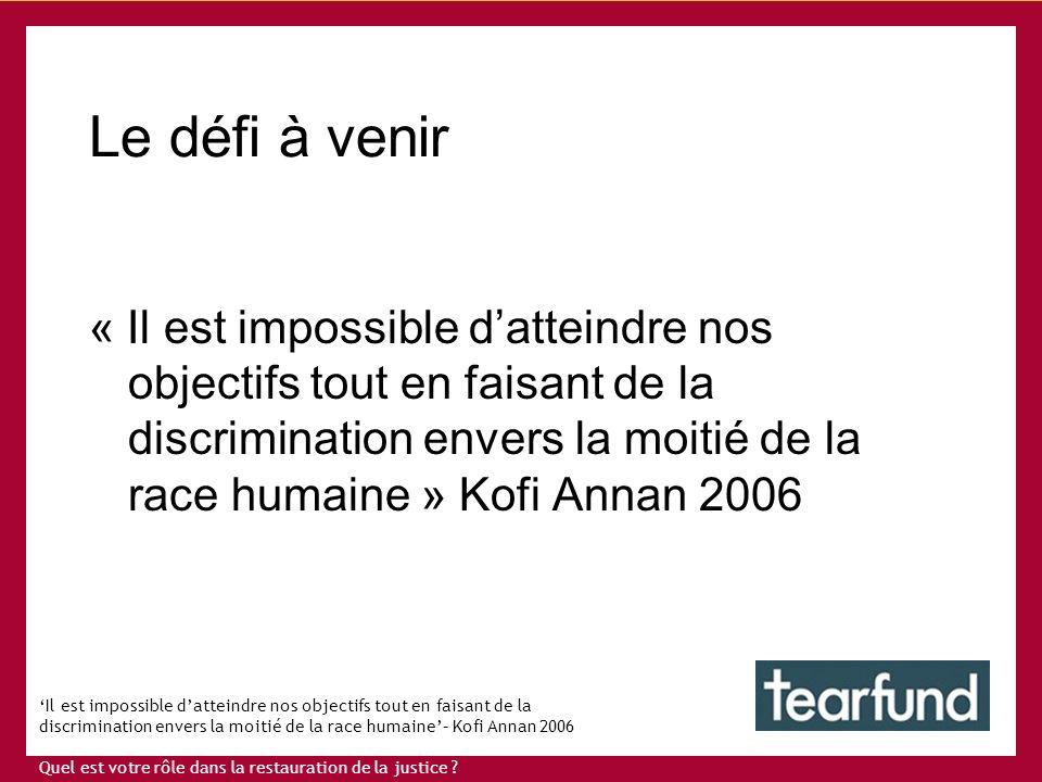 Il est impossible datteindre nos objectifs tout en faisant de la discrimination envers la moitié de la race humaine– Kofi Annan 2006 Quel est votre rôle dans la restauration de la justice .