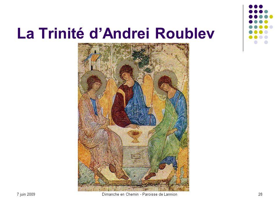 7 juin 2009Dimanche en Chemin - Paroisse de Lannion28 La Trinité dAndrei Roublev
