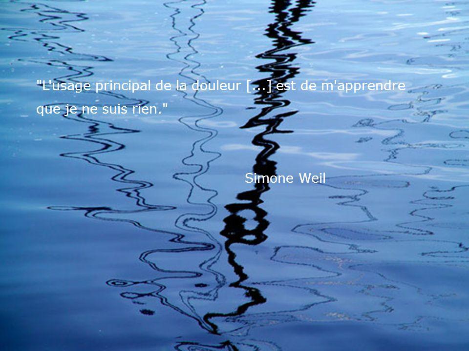 L usage principal de la douleur [...] est de m apprendre que je ne suis rien. Simone Weil