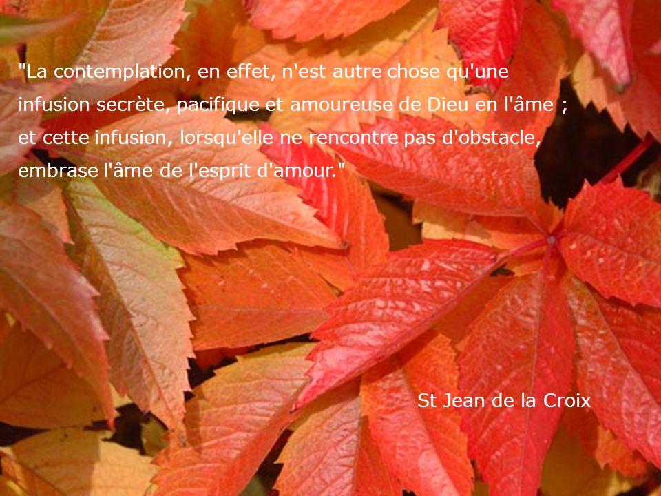 La contemplation, en effet, n est autre chose qu une infusion secrète, pacifique et amoureuse de Dieu en l âme ; et cette infusion, lorsqu elle ne rencontre pas d obstacle, embrase l âme de l esprit d amour. St Jean de la Croix