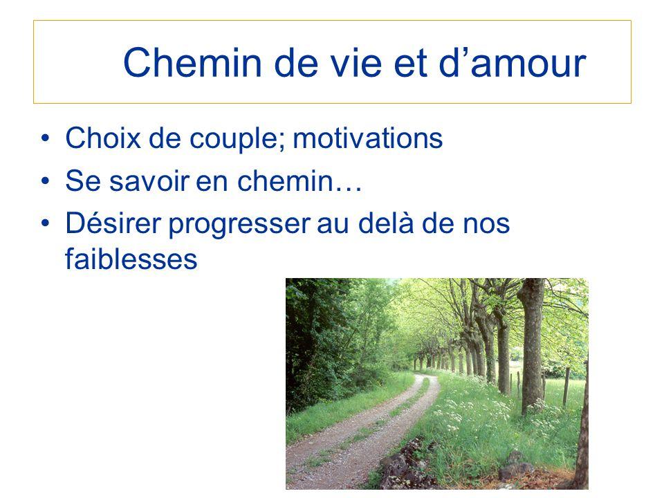 Chemin de vie et damour Choix de couple; motivations Se savoir en chemin… Désirer progresser au delà de nos faiblesses