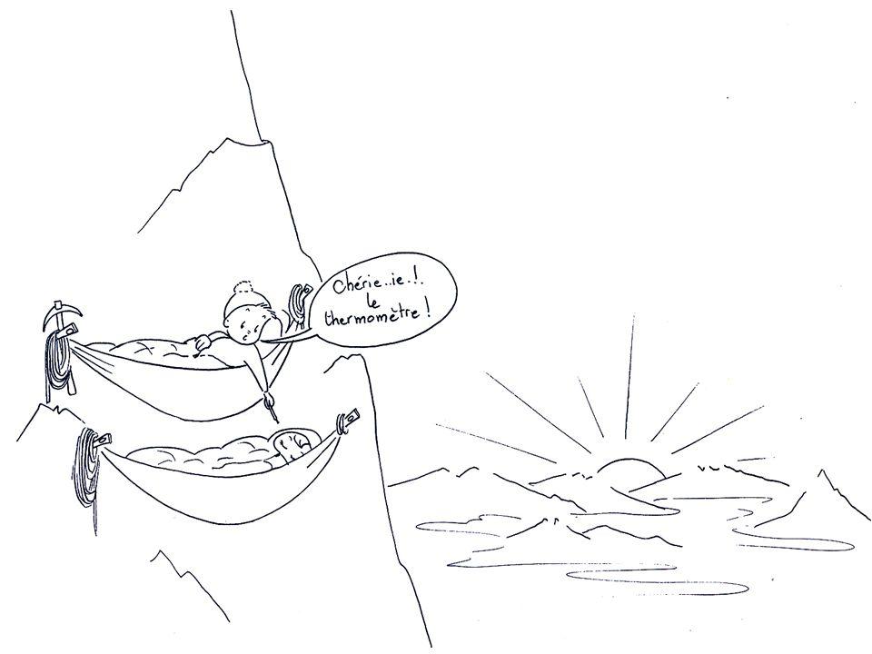 Couple en montagne avec t°