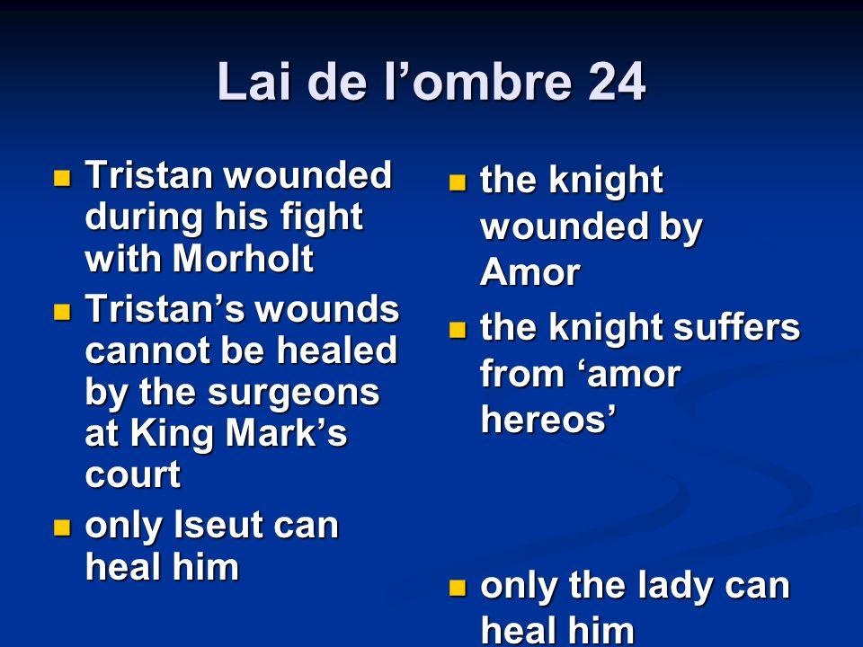 Lai de lombre 24 Tristan wounded during his fight with Morholt Tristan wounded during his fight with Morholt Tristans wounds cannot be healed by the s