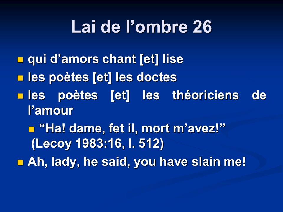 Lai de lombre 26 qui damors chant [et] lise qui damors chant [et] lise les poètes [et] les doctes les poètes [et] les doctes les poètes [et] les théoriciens de lamour les poètes [et] les théoriciens de lamour Ha.