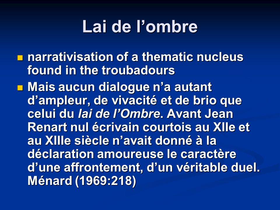 Lai de lombre narrativisation of a thematic nucleus found in the troubadours narrativisation of a thematic nucleus found in the troubadours Mais aucun