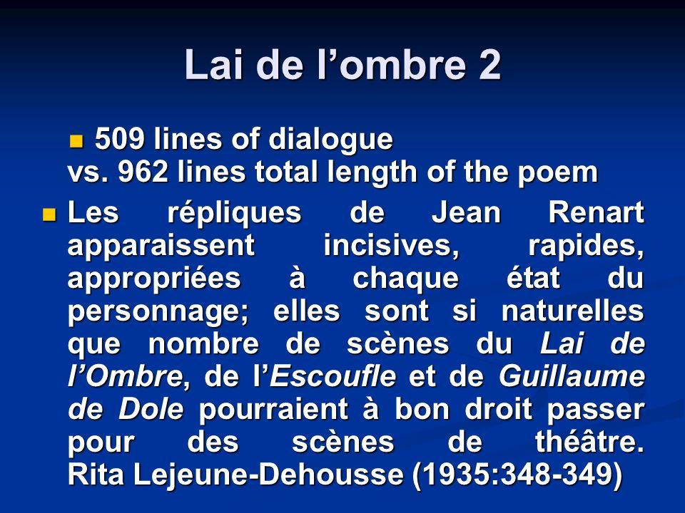 Lai de lombre 2 509 lines of dialogue vs. 962 lines total length of the poem 509 lines of dialogue vs. 962 lines total length of the poem Les réplique