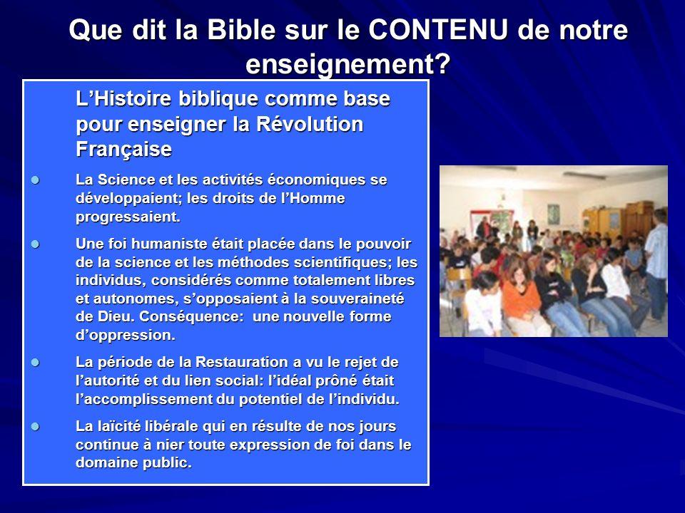 Que dit la Bible sur le CONTENU de notre enseignement.