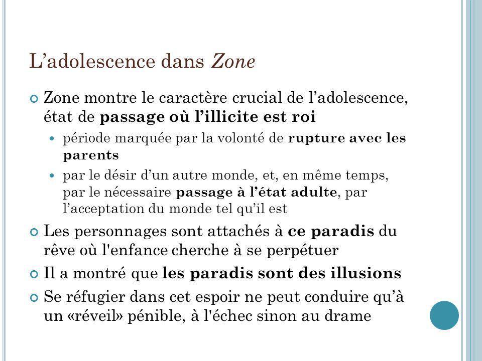 Ladolescence dans Zone Zone montre le caractère crucial de ladolescence, état de passage où lillicite est roi période marquée par la volonté de ruptur