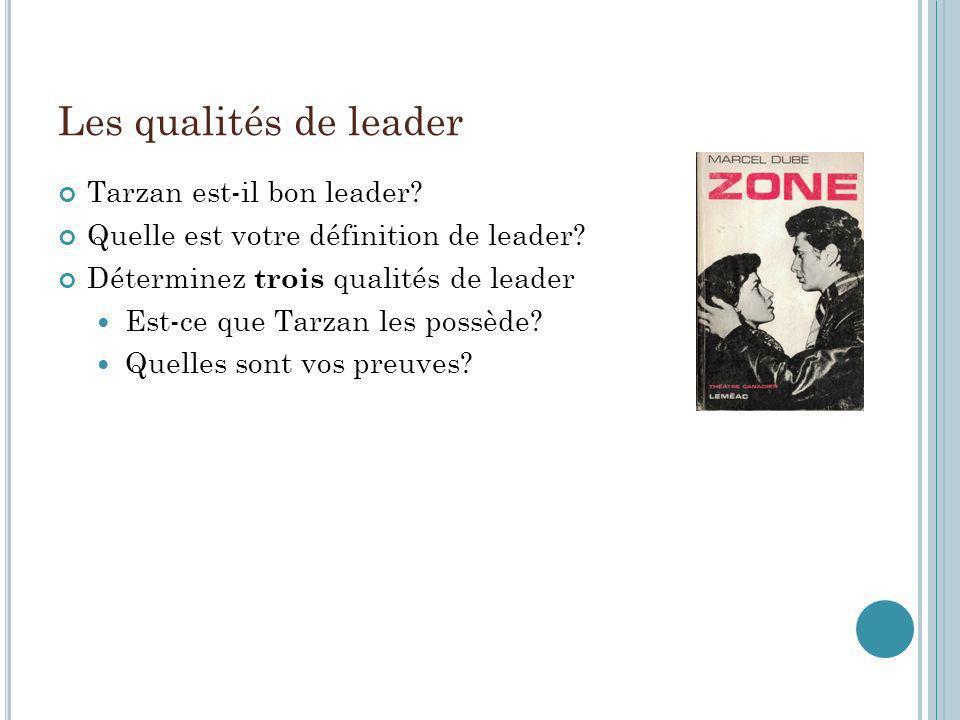 Les qualités de leader Tarzan est-il bon leader? Quelle est votre définition de leader? Déterminez trois qualités de leader Est-ce que Tarzan les poss
