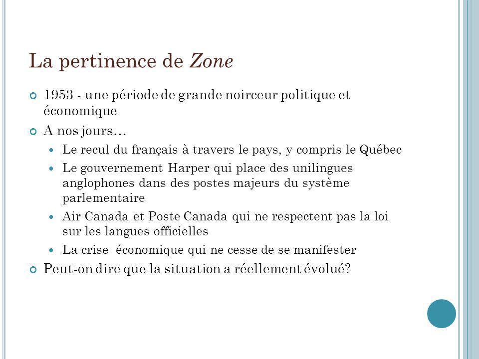 La pertinence de Zone 1953 - une période de grande noirceur politique et économique A nos jours… Le recul du français à travers le pays, y compris le