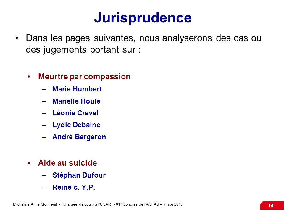 Micheline Anne Montreuil - Chargée de cours à lUQAR - 81 e Congrès de lACFAS – 7 mai 2013 14 Jurisprudence Dans les pages suivantes, nous analyserons
