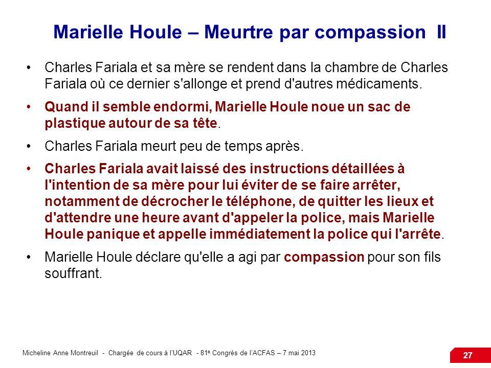 Micheline Anne Montreuil - Chargée de cours à lUQAR - 81 e Congrès de lACFAS – 7 mai 2013 27 Marielle Houle – Meurtre par compassion II Charles Fariala et sa mère se rendent dans la chambre de Charles Fariala où ce dernier s allonge et prend d autres médicaments.