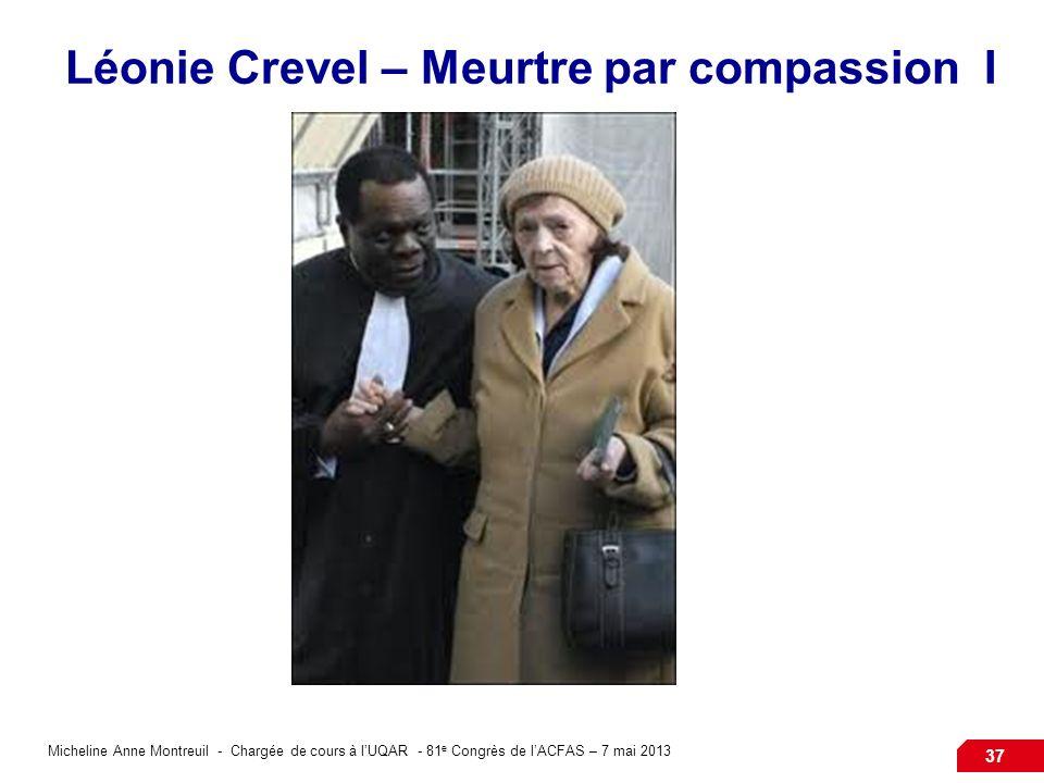 Micheline Anne Montreuil - Chargée de cours à lUQAR - 81 e Congrès de lACFAS – 7 mai 2013 37 Léonie Crevel – Meurtre par compassion I