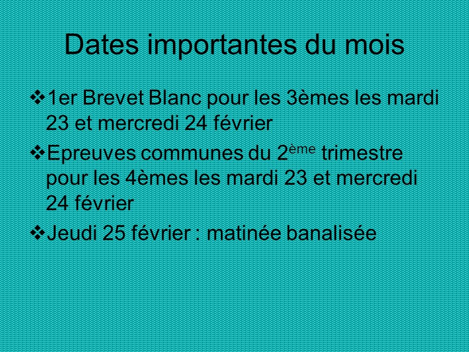 Dates importantes du mois 1er Brevet Blanc pour les 3èmes les mardi 23 et mercredi 24 février Epreuves communes du 2 ème trimestre pour les 4èmes les