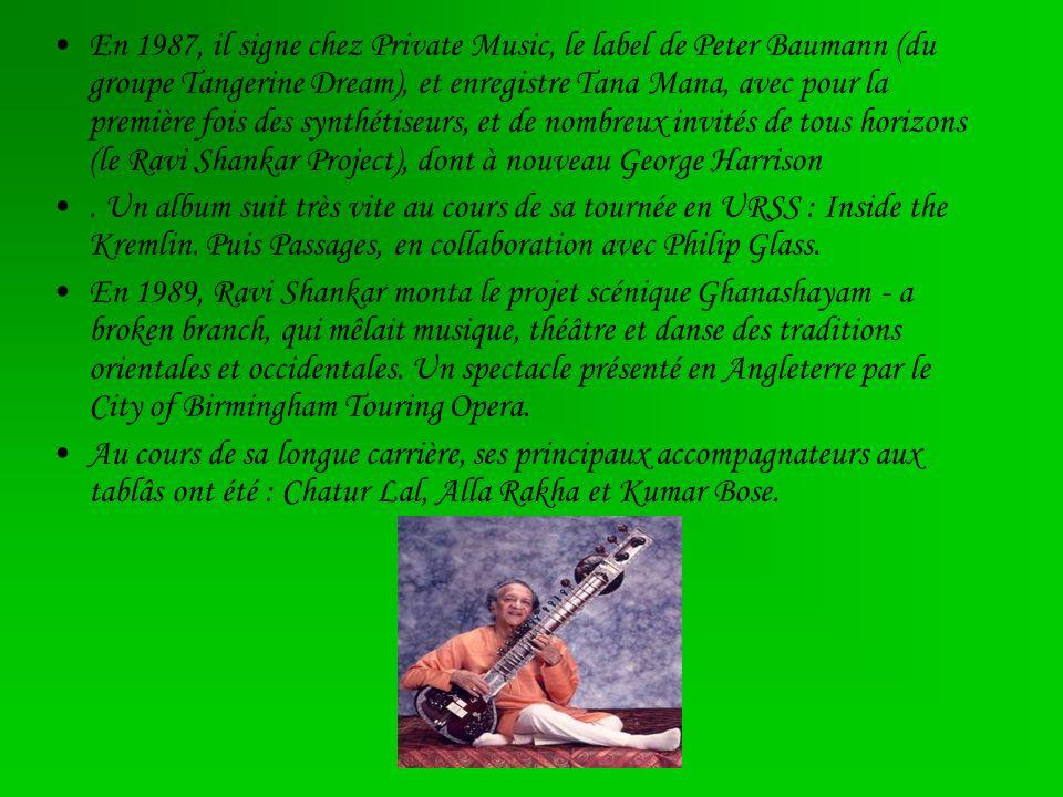 En 1987, il signe chez Private Music, le label de Peter Baumann (du groupe Tangerine Dream), et enregistre Tana Mana, avec pour la première fois des s