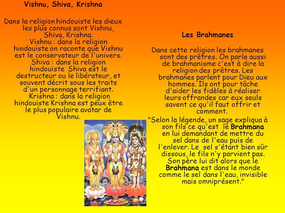 Vishnu, Shiva, Krishna Dans la religion hindouiste les dieux les plus connus sont Vishnu, Shiva, Krishna. Vishnu : dans la religion hindouiste on raco