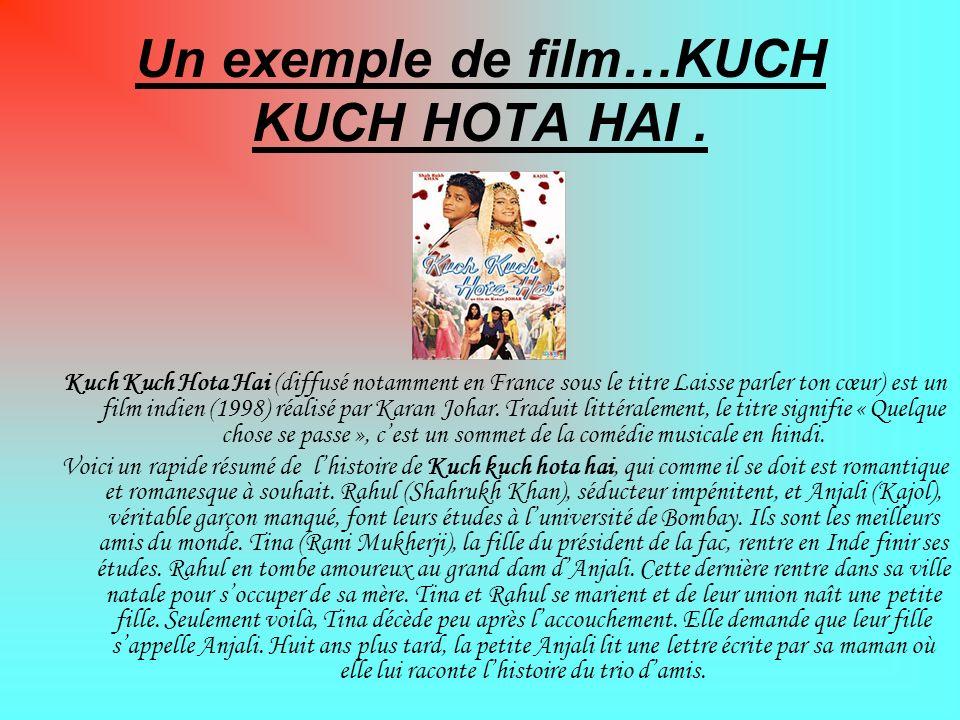 Un exemple de film…KUCH KUCH HOTA HAI. Kuch Kuch Hota Hai (diffusé notamment en France sous le titre Laisse parler ton cœur) est un film indien (1998)